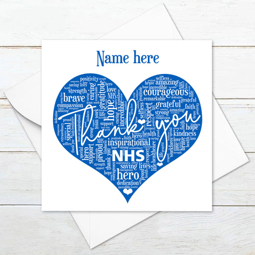 Personalised Thank You NHS Card