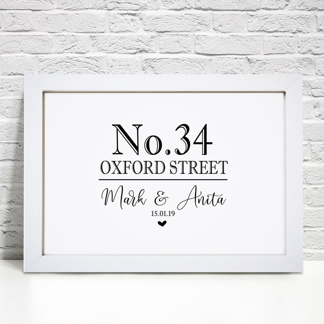 Personalised Home Address Print