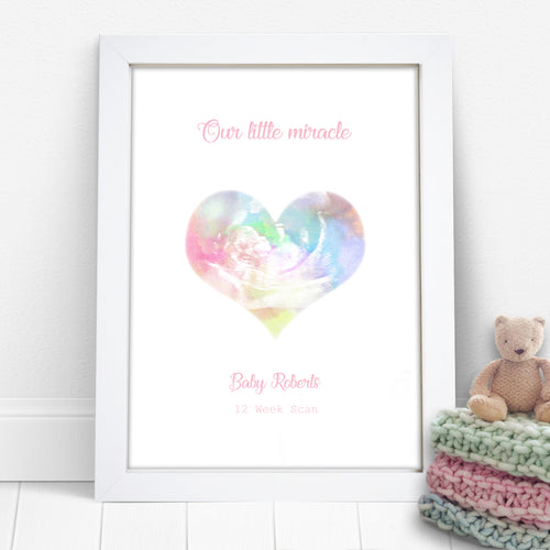 Personalised Watercolour Heart Baby Scan Photo Keepsake Print