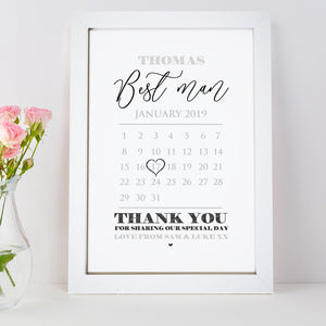 Personalised Best Man Calendar Print