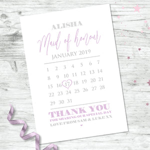 Personalised Bridesmaid Calendar Print