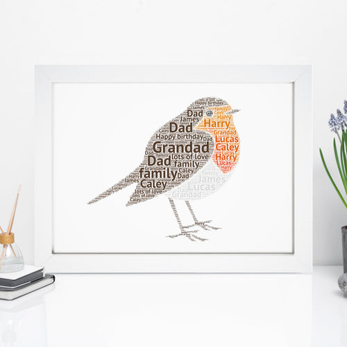 Personalised Robin Word Art Print