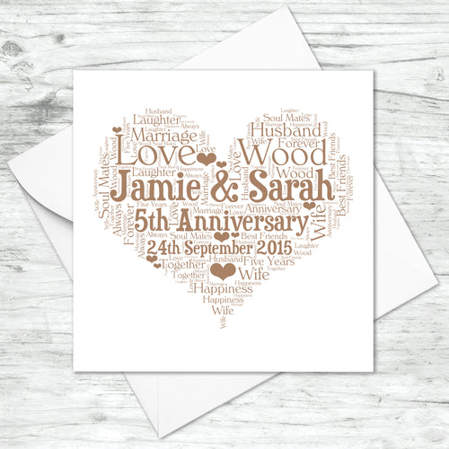 Personalised 5th Anniversary Heart Word Art Card