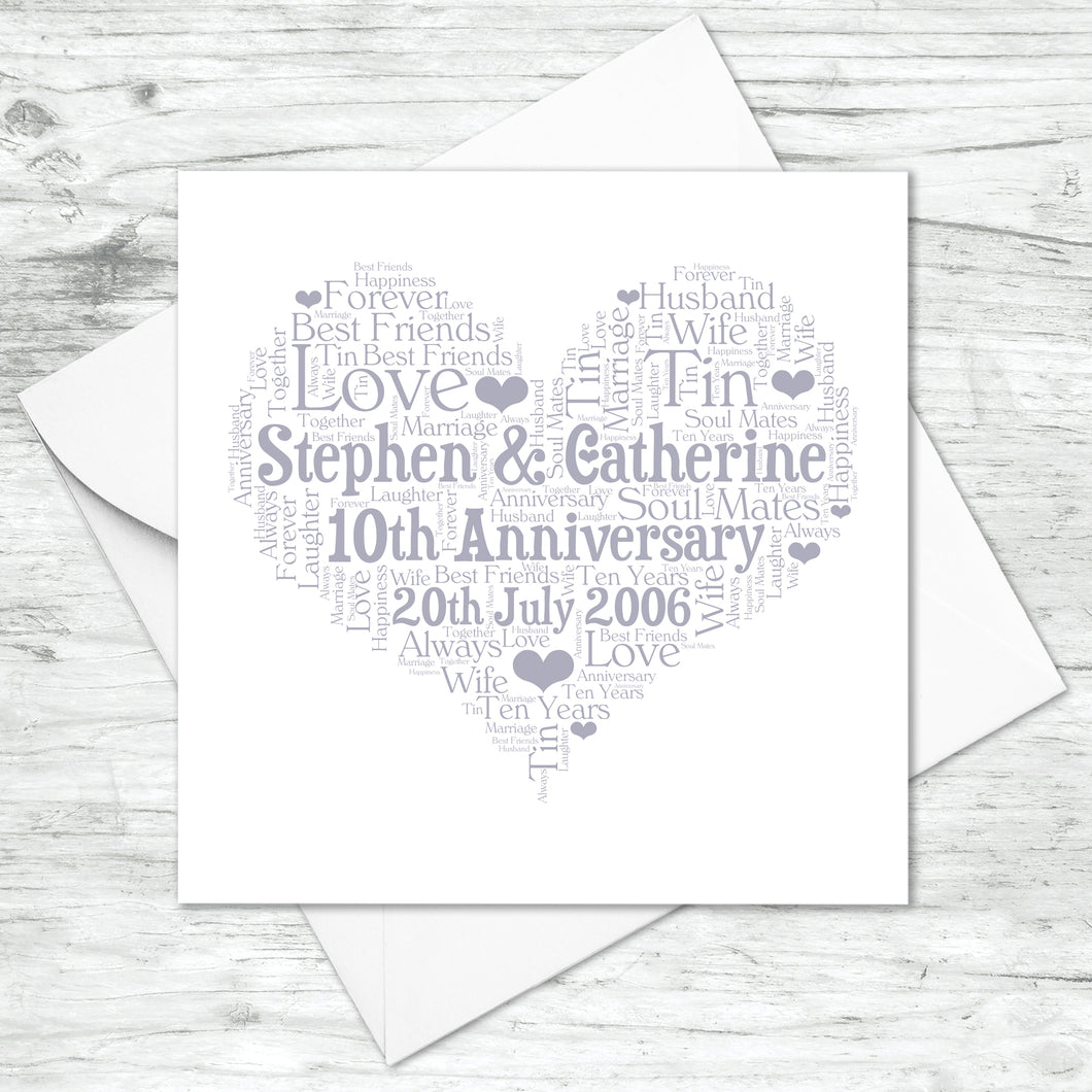 Personalised 10th Anniversary Heart Word Art Card