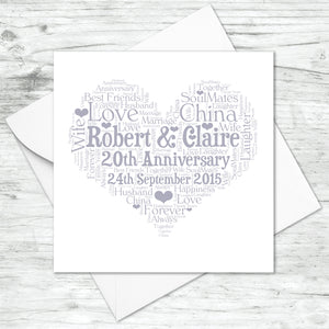 Personalised 20th Anniversary Heart Word Art Card