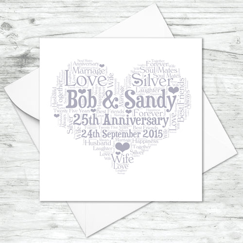 Personalised 25th Anniversary Heart Word Art Card