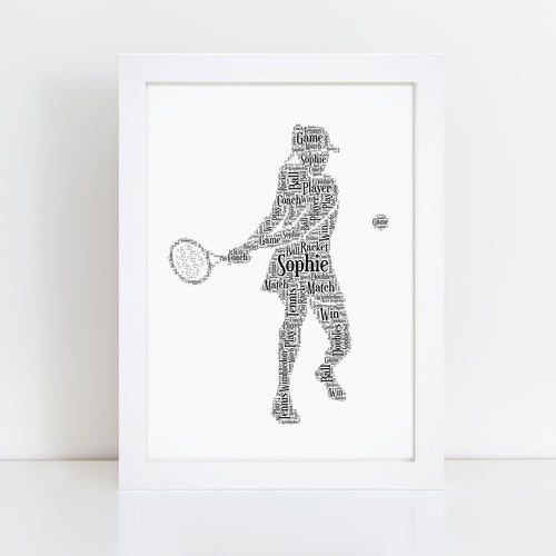 Personalised Female Tennis Player Word Art Print