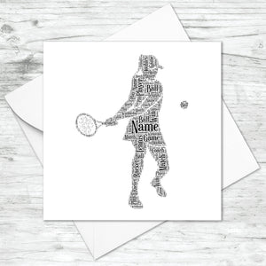 Personalised Female Tennis Player Word Art Card