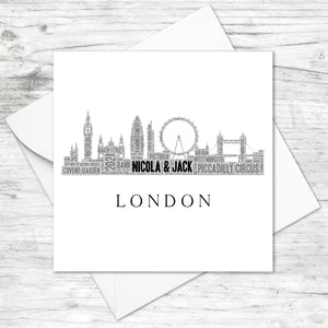 Personalised London Skyline Word Art Card