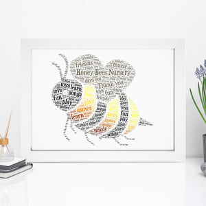 Personalised Bumble Bee Word Art Print