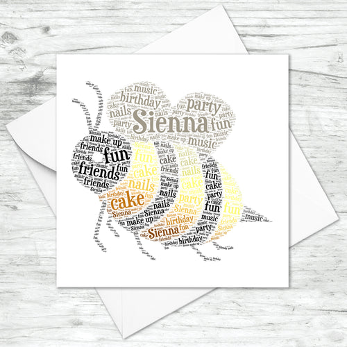 Personalised Bumble Bee Word Art Card