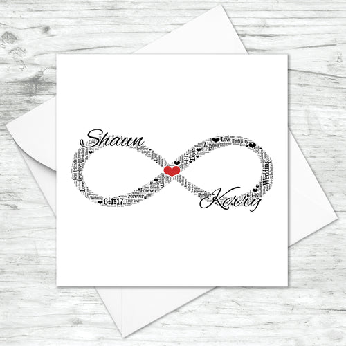Personalised Infinity Symbol Word Art Card