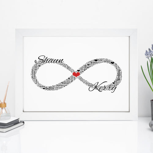 Personalised Infinity Symbol Word Art Print