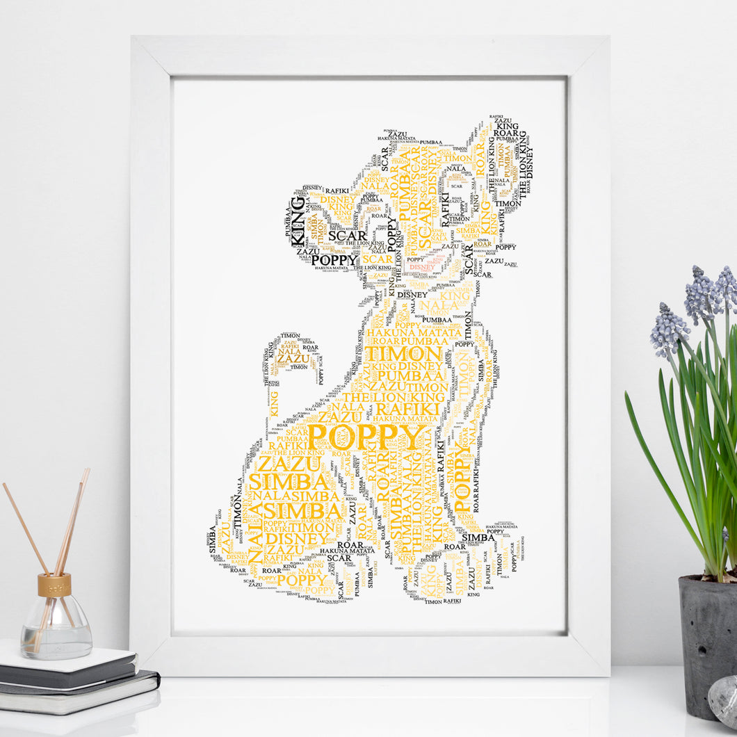 Personalised Simba Word Art Print