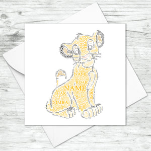 Personalised Simba Word Art Card