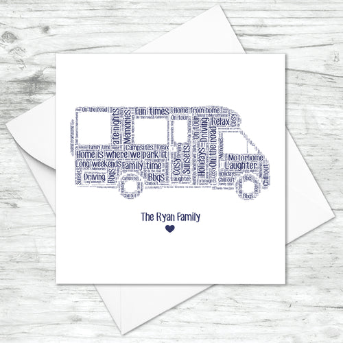 Personalised Motorhome Word Art Card