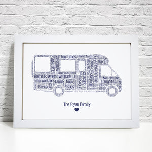 Personalised Motorhome Word Art Print