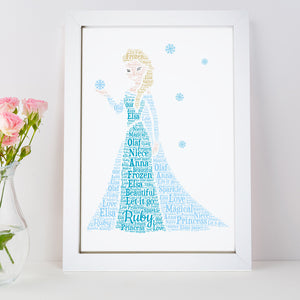 Personalised Frozen Elsa Princess Word Art Print