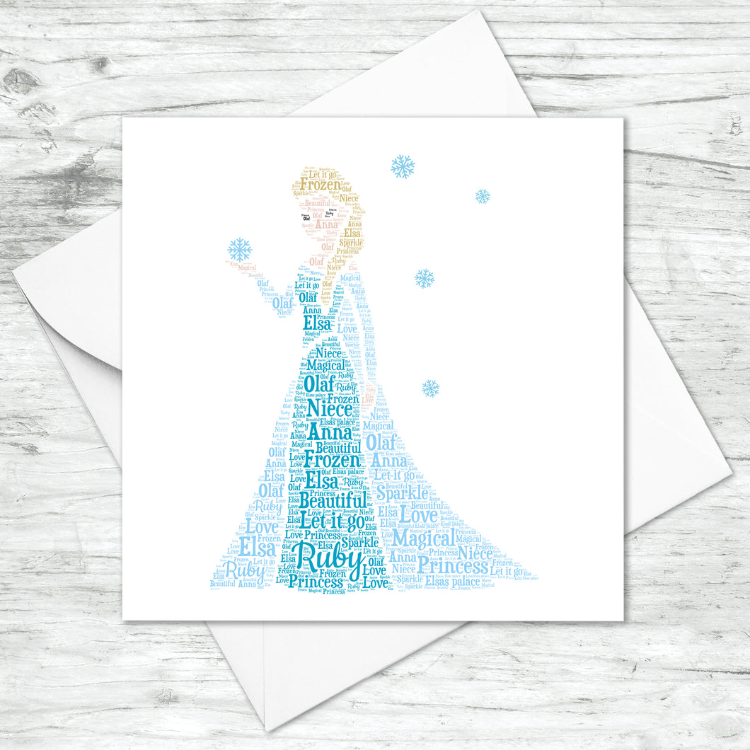 Personalised Frozen Elsa Princess Word Art Card