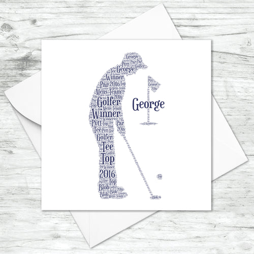 Personalised Golfer Golf Birthday Word Art Card