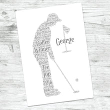 Personalised Golfer Golf Birthday Word Art Print