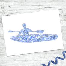 Personalised Kayak Word Art Print