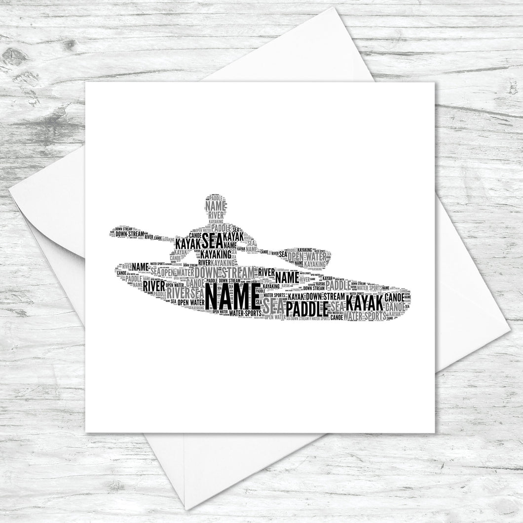 Personalised Kayak Word Art Card