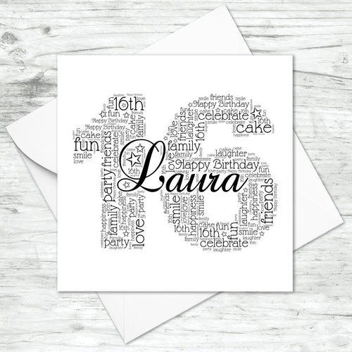 Personalised 16th Name Number Word Art Card