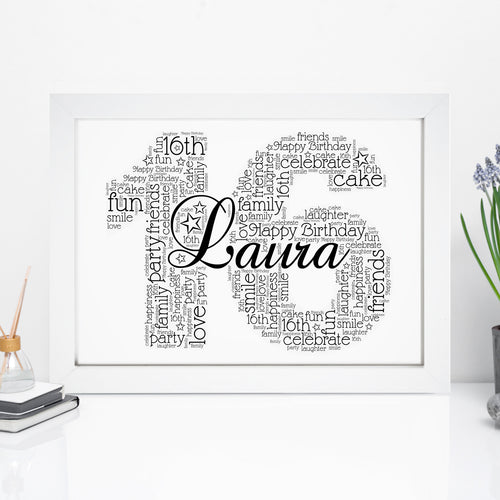 Personalised Name & Age Number Word Art Print