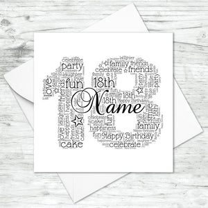 Personalised 18th Name Number Word Art Card