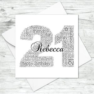 Personalised 21st Name Number Word Art Card