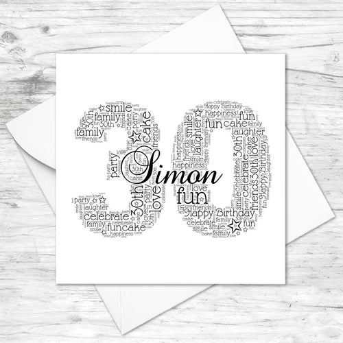 Personalised 30th Name Number Word Art Card