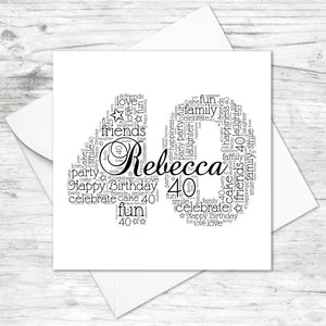 Personalised 40th Name Number Word Art Card