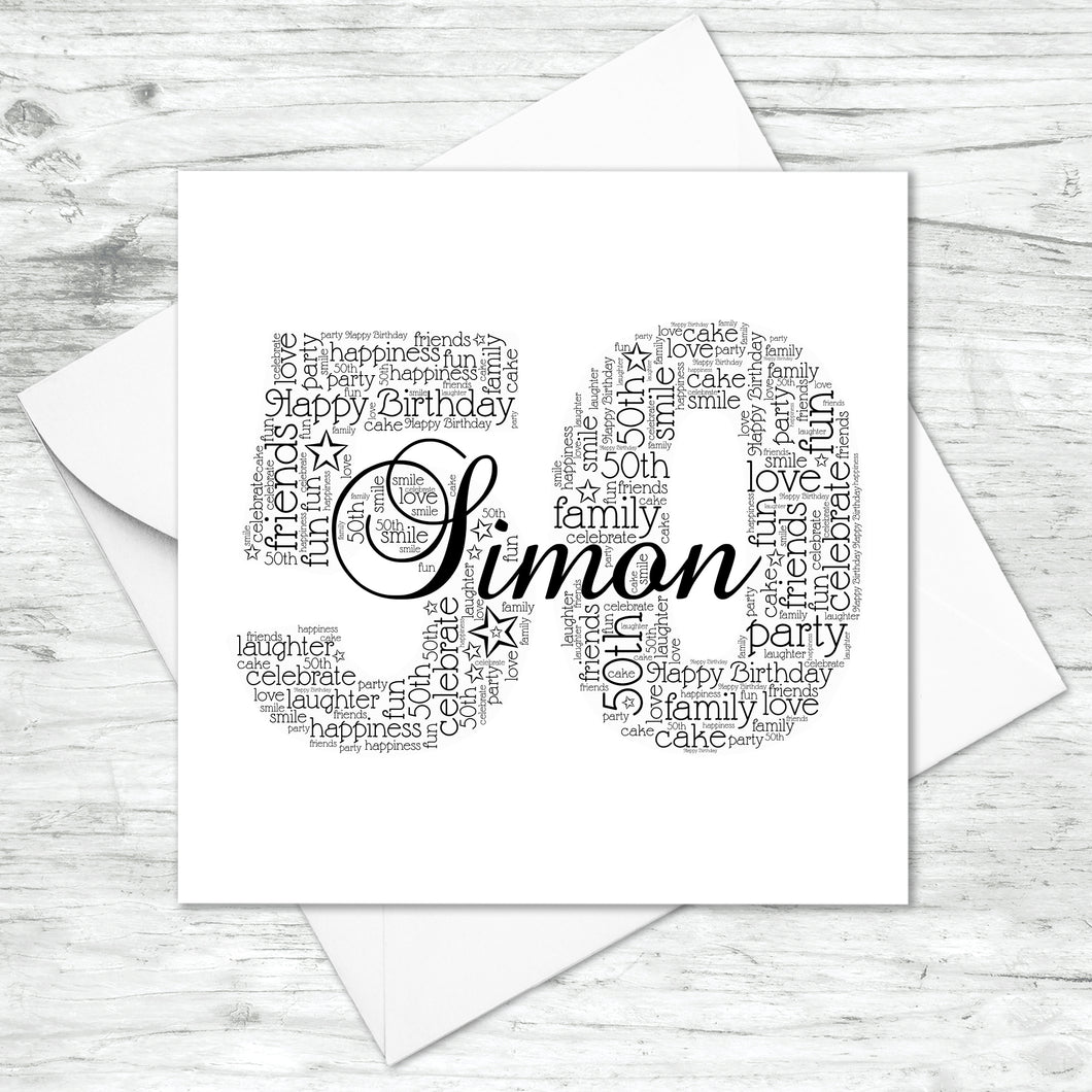 Personalised 50th Name Number Word Art Card
