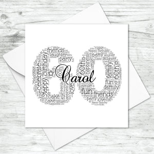 Personalised 60th Name Number Word Art Card
