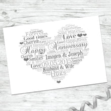 Personalised Anniversary Heart Word Art Print