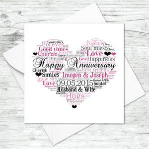 Personalised Anniversary Heart Word Art Card
