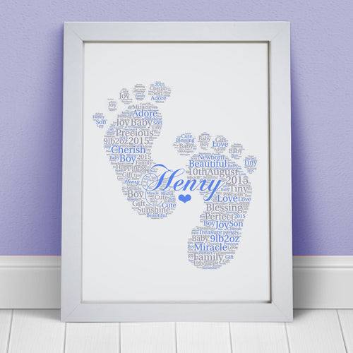 Personalised New Baby Girl Boy Footprints Word Art Print