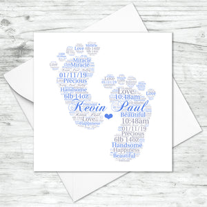 Personalised New Baby Boy Footprints Word Art Card