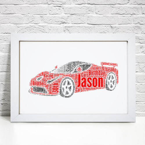 Personalised Sports Car Word Art Print