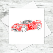 Personalised Sports Car Word Art Card