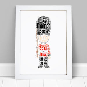 Personalised London Queens Guard Word Art Print