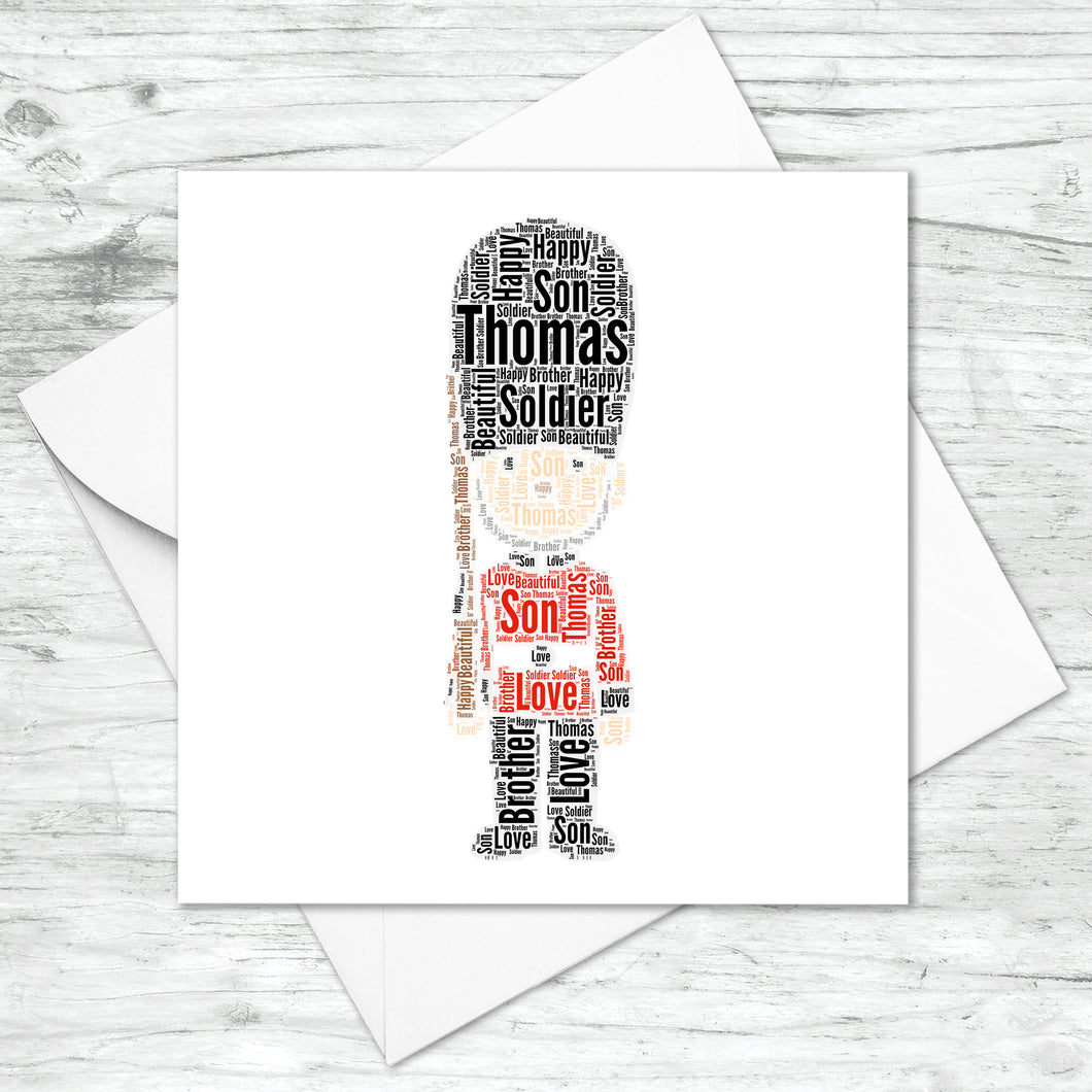 Personalised London Queens Guard Word Art Card