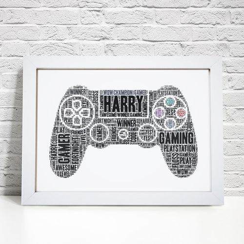 Personalised Playstation Contoller Gaming Word Art Print
