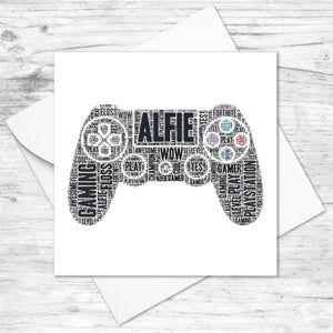 Personalised Playstation Contoller Gaming Word Art Card