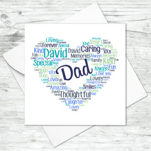 Personalised Heart Word Art Card - Male