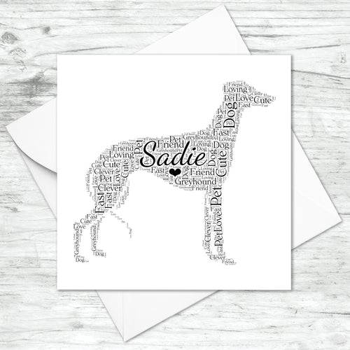 Personalised Greyhound Word Art Card