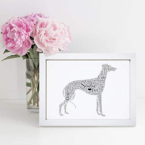 Personalised Greyhound Word Art Print