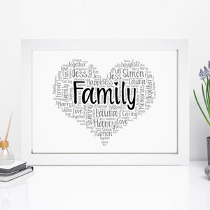 Personalised Family Heart Word Art Print