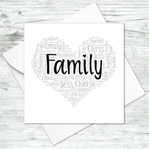 Personalised Family Heart Word Art Card